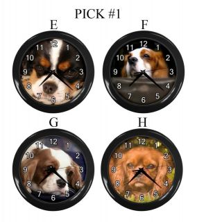 Cavalier King Charles Spaniel Dog Puppy Puppies E H Wall Clock Gift #