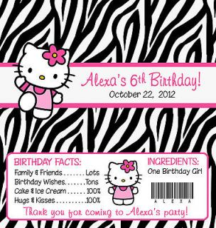 ZEBRA HELLO KITTY BIRTHDAY CANDY WRAPPERS / PARTY FAVORS