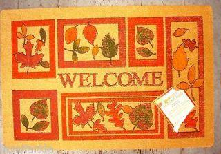 AUTUMN LEAVES on BROWN WELCOME MAT ~ FALL DOOR MAT ~ AUTUMN RUG ~NEW
