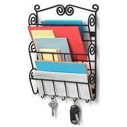 LOVELY Scroll Wall Mount Mail Key Letter Holder Organizer Basket Rack