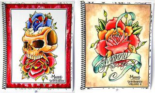 Manny Tattoo Sketchbook Drawings Tiki Rose Skull Outlines for Stencils