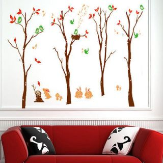 Trees Color Brown Room Wall Sticker Decor Decals Removable Art Kids