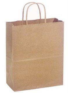 20   KRAFT BROWN PAPER CUB Gift Handle Shopping Bags 8 1/4 x 4 3/4