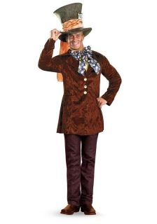 Mens Disneys Alice in Wonderland Mad Hatter Halloween Costume & WIG