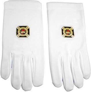 Knights Templar Emblem Embroidered Mens Ritual Gloves