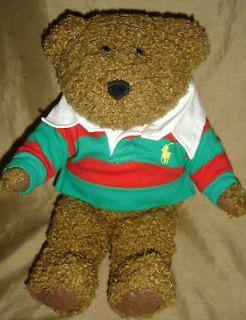 RALPH LAUREN Red Green Stripe Yellow Pony POLO Shirt Teddy BEAR 2005