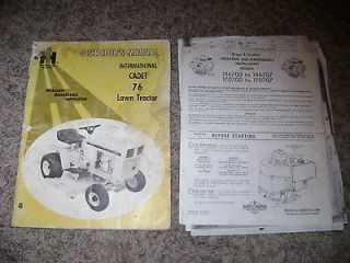 Cub Cadet 76 Riding Lawn Mower Tractor Service Operators Manual