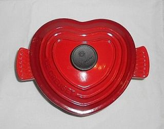 LE CREUSET 2 Qt. Red Heart Shaped Enameled Cast Iron Dutch Oven Made