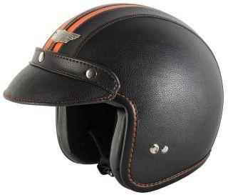 LE Open Face Motorcycle Motorbike Scooter Leather Helmet Black/Orange