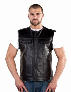 Mens Conceal Leather Motorcycle Biker Club Outlaw Vest No Collar Bay
