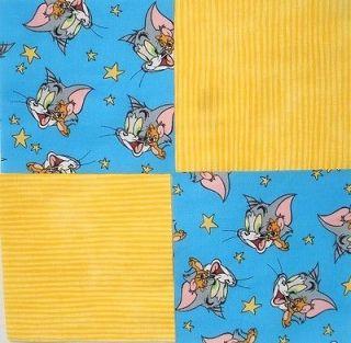 24 6 TOM & JERRY Blue Retro Cartoon Yellow Stripe Quilt Fabric