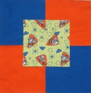 21 6 TOM & JERRY Retro Cartoon Stripe Orange Blue Quilt Fabric