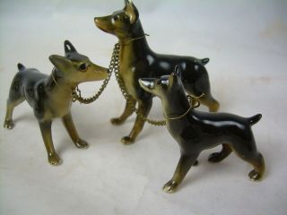 Vintage DOBERMAN Porcelain Mom & Puppies Pups Dog Family w/ Chains