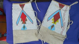 Native American beaded Sioux? gauntlets? Vintage beadwork