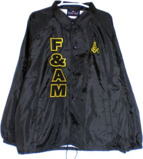 Hall Mason F&AM 3 Letter Mens Classic Crossing Line Coachs Jacket