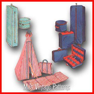 Vtg Pattern Barbie Tammy Accessories ~ Luggage Suitcase Garment Bag