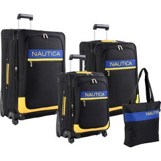 RHUMB LINE SPINNER BLACK YELLOW 4 PIECE LUGGAGE SET $1240 VALUE NEW