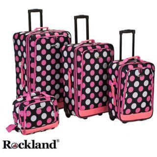 pink polka dot luggage sets