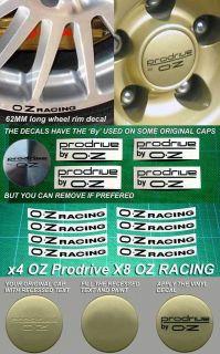 decal stickers for OZ Racing Wheel rim 62mm Lotus x8 + x4 Prodrive cap