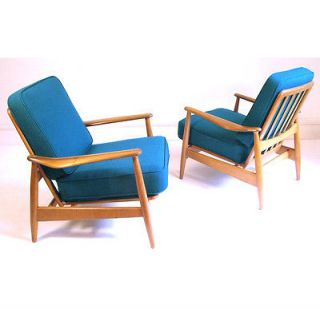 1950s Danish Reclining Lounge Chairs by Arne Vodder wegner eames era