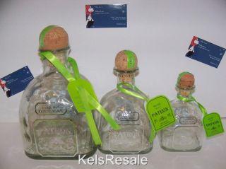 2t~3~Empty SILVER PATRON Tequila BOTTLE 1.75l 750ml 375ml Small