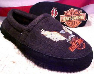 HARLEY DAVIDSON MEN SIZE SMALL WARM EMBROIDERED SLIPPERS NIGHTHAWK D