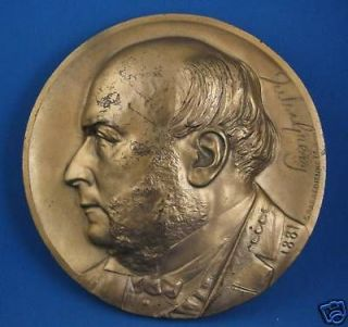 1881 Barbedienne signed bronze plaque JULES GREVY