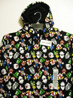 SUPER MARIO GROUP Black Hoodie   Jacket Offical Nintendo Seal by HOT
