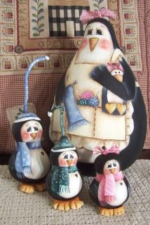 Penguin Mama and Babies Gourd Decorative Painting Pattern