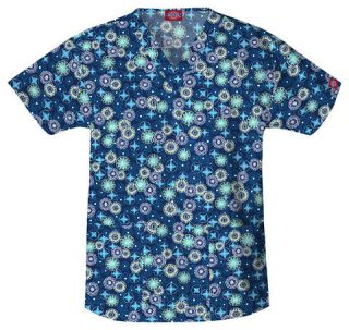 Dickies Medical   Dental Uniform Scrubs   Print Top Stars Navy Flowers