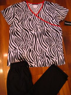 Zebra Print Wrap Red Trim Scrubs Set Medical Nurses Uniform S   3XL