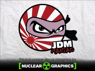 JDM MANIAC decal sticker vinyl domo kun jap honda nissan toyota