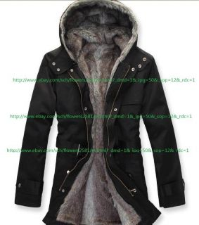Cheap Mens Cloth 2in1 Hooded Fur Winter Long Coat Outerwear Warm