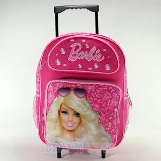 Mattel Barbie Pink Jewels 16 Large Roller Backpack   Bag Girls School