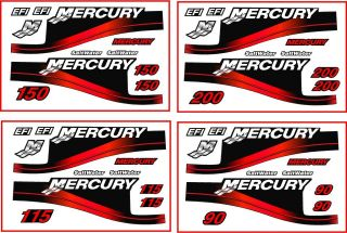 Mercury Outboard 200HP (& 90, 115 and 150) Decal Kit,Red Saltwa​ter