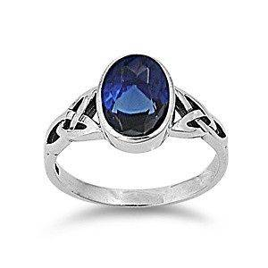 Silver Blue Sapphire Solitaire CZ Ring Celtic Design Solid 925 Italy