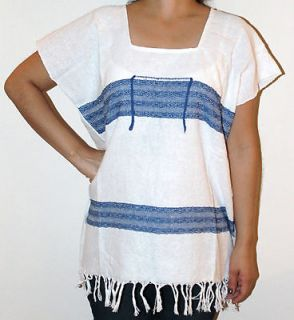 Assorted Color Hippie Vintage Mexican Tunic Blouse Telar Top Woman XL