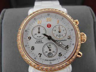 MICHELE CSX CERAMIC MWW03N000004 WHITE CERAMIC DIAMOND ROSE GOLD WATCH