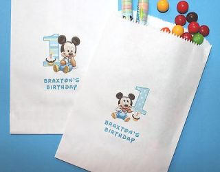 Baby Mickey & Minnie Mouse First Birthday Personalized Candy bags