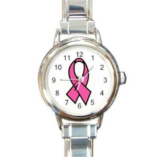 PINK BREAST CANCER AWARENESS RIBBON Round Italian Charm Watch