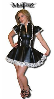 MISFITZ LEATHER LOOK FRILLY MAIDS UNIFORM + APRON TRANSVESTITE SIZE 8