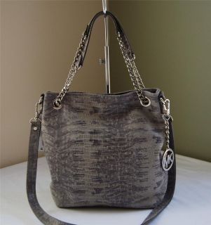 Michael Kors Jet Set Chain Python Medium Shoulder Tote Slate
