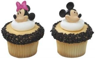 MICKEY + Minnie MOUSE Faces HEADS 24 Party CUPCAKE Cake Pop RINGS
