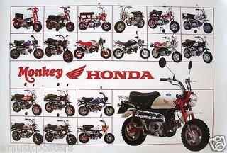 HONDA MONKEY 19 MINI BIKES MODELS ON ONE POSTER Z50 SCOOTER,CLASSIC