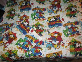 Vintage MICKEY MOUSE Fabric Curtain WALT DISNEY Pluto MINNIE Donald