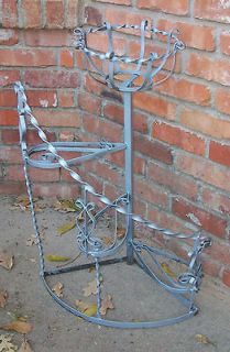 Vintage 4 Tiered Wrought Iron Spiral Plant Stand Scroll Work & Twisted