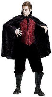 Black Velvet Cape Collar Evil Vampire Costume Count Mens Adult Reaper