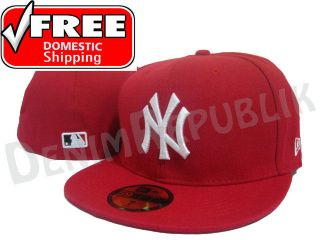 59FIFTY NY NEW YORK YANKEES   Red White Cap MLB Baseball Fitted Hat
