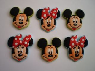 EDIBLE MICKEY AND MINNIE MOUSE STYLE CUPCAKE/CAKE TOPPERS