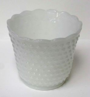 Vintage Opaque White Milk Glass Hobnail Dots Vase Flower Pot